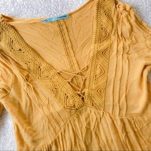 Yellow V Neck Feminine Lacy Top